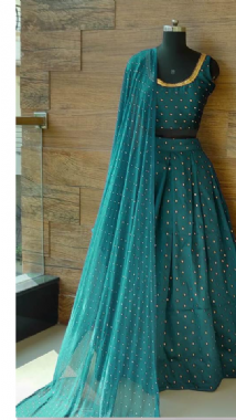 Teal & Gold Bhutti Lehenga Set